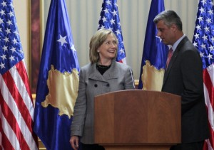 US Secretary of State Hillary Clinton visits Kosovo.