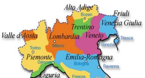 Cartina nord italia politica
