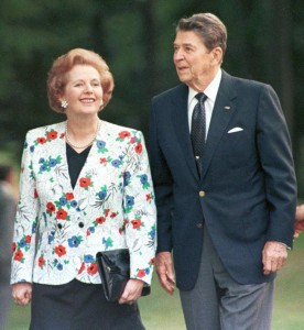 FILE PHOTO OF FORMER US PRESIDENT REAGAN WALKS WITH MARGARET THATCHER