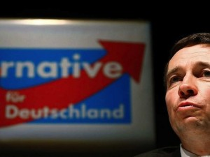 "Bernd Lucke, co-founder of Germany's anti-euro party ""Alternative fuer Deutschland"" (alternative for Germany) addresses the audience during the first informal meeting of his party in Oberursel"
