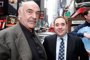 Actor Sean Connery and leader of the Scottish National Party Alex Salmond arrive in Times Square to celebrate Tartan Week in New York