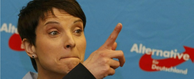 Frauke Petry, chairwoman of the anti-immigration party Alternative for Germany (AfD) reacts after first exit polls in three regional state elections at the AfD party's election night party in Berlin, Germany, March 13, 2016.   REUTERS/Fabrizio Bensch