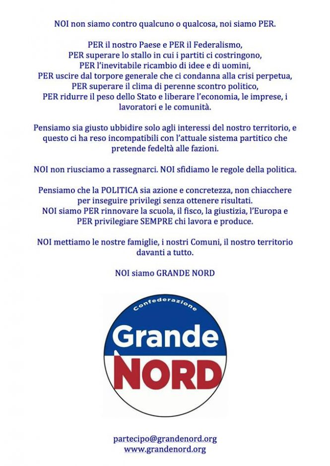 MANIFESTO GRANDE NORD