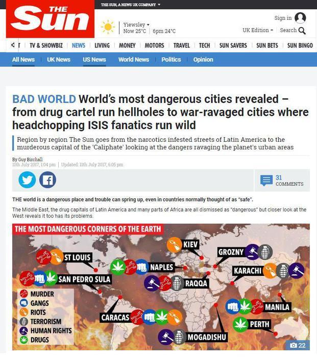 Il quotidiano on line 'Sun', Londra, 18 Luglio 2017. Stando ad una classifica stilata dal tabloid sensazionalistico britannico, Napoli, capoluogo campano, rientrebbe fra le 10 città più pericolose del pianeta. ANSA/ WEB/ SUN