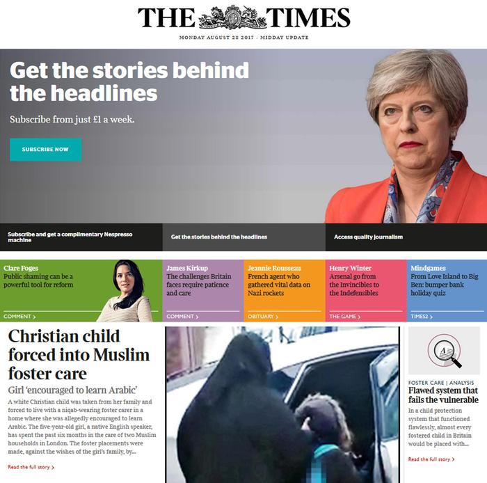 """Una bimba di 5 anni proveniente da una famiglia cristiana inglese 'costretta' a Londra dai servizi sociali a vivere in affidamento con musulmani osservanti. E' la vicenda che fa discutere il Regno Unito dopo che il Times oggi ne ha rivelato in prima pagina i particolari. Gli affidatari della piccola, definita dal giornale come """"bianca e cristiana"""", l'avrebbero obbligata a non indossare un crocifisso appeso a una catenina e ad imparare la lingua araba. ANSA/THE TIMES +++EDITORIAL USE ONLY - NO SALES+++"""