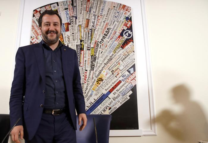 The League leader Matteo Salvini arrives for a press conference at the foreign press association headquarters, in Rome, Wednesday, March 14, 2018. (ANSA/AP Photo/Alessandra Tarantino) [CopyrightNotice: Copyright 2018 The Associated Press. All rights reserved.]
