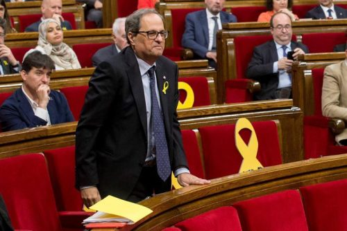 epaselect epa06731502 Catalan pro-independence party Junts Per Catalunya (JxCat)`s MP Quim Torra, new candidate for Catalan regional President, after the plenary session at Catalan Regional Parliament in Barcelona, Spain, 12 May 2018. Catalan regional Parliament held a plenary session to debate and voting of the investiture of Torra as new regional President. The investiture was rejected and Torra had to wait a second vote will be held on next 14 May when he would only need a simple majority to become in President.  EPA/Quique Garcia