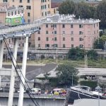 A large section of the Morandi viaduct upon which the A10 motorway runs collapsed in Genoa, Italy, 14 August 2018. Both sides of the highway fell. Around 10 vehicles are involved in the collapse, rescue sources said Tuesday. The viaduct gave way amid torrential rain. The viaduct runs over shopping centres, factories, some homes, the Genoa-Milan railway line and the Polcevera river. ANSA/FLAVIO LO SCALZO